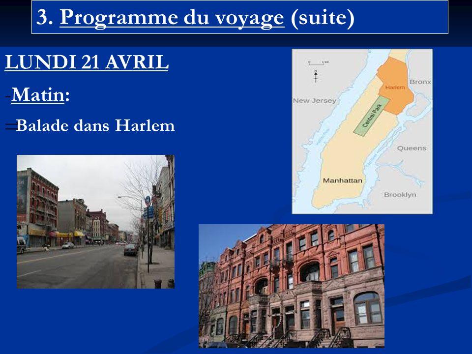 3. Programme du voyage (suite) LUNDI 21 AVRIL -Matin: Balade dans Harlem