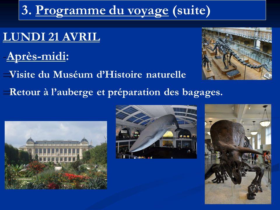 3. Programme du voyage (suite) LUNDI 21 AVRIL -Après-midi: Visite du Muséum dHistoire naturelle Retour à lauberge et préparation des bagages.