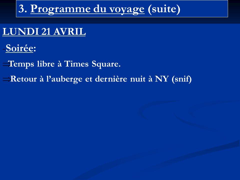 3. Programme du voyage (suite) LUNDI 21 AVRIL -Soirée: Temps libre à Times Square.