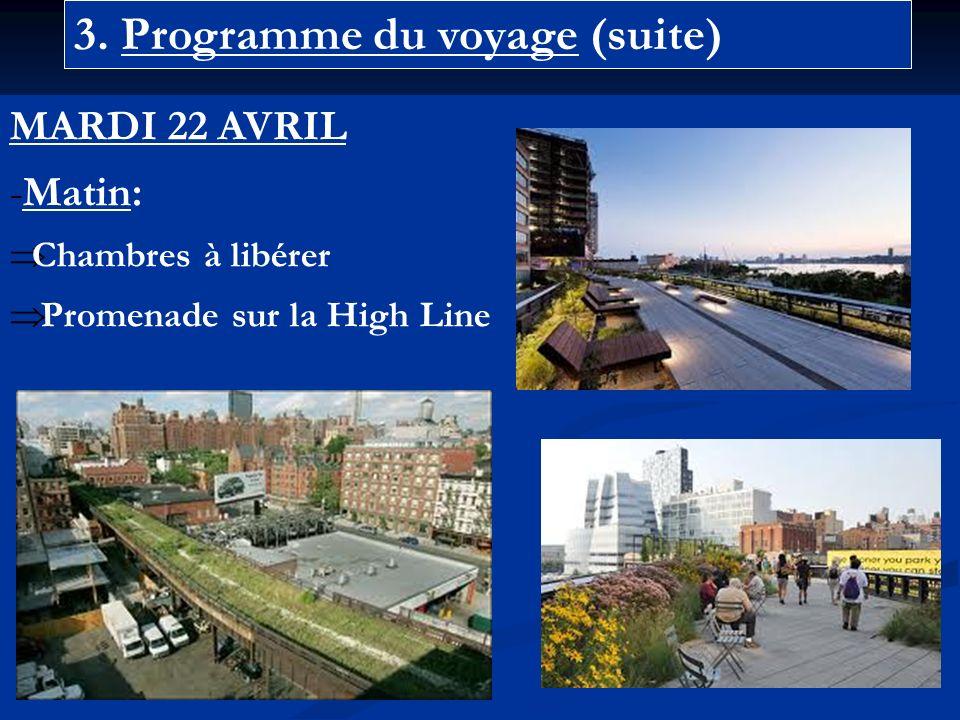3. Programme du voyage (suite) MARDI 22 AVRIL -Matin: Chambres à libérer Promenade sur la High Line