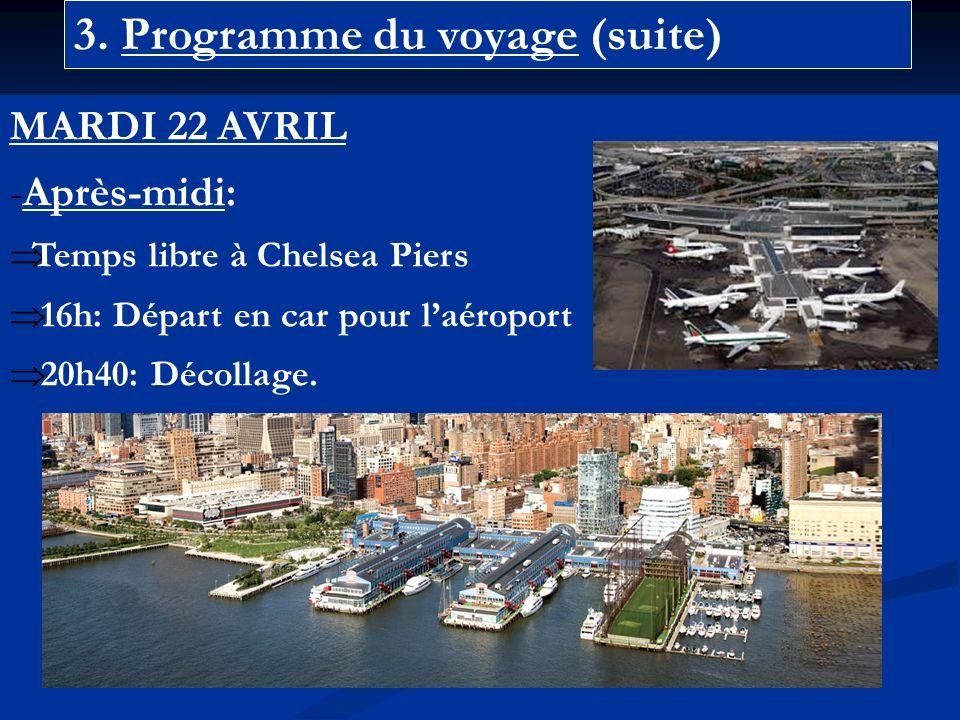 3. Programme du voyage (suite) MARDI 22 AVRIL -Après-midi: Temps libre à Chelsea Piers 16h: Départ en car pour laéroport 20h40: Décollage.