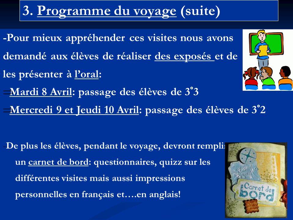 3. Programme du voyage (suite) -Pour mieux appréhender ces visites nous avons demandé aux élèves de réaliser des exposés et de les présenter à loral: