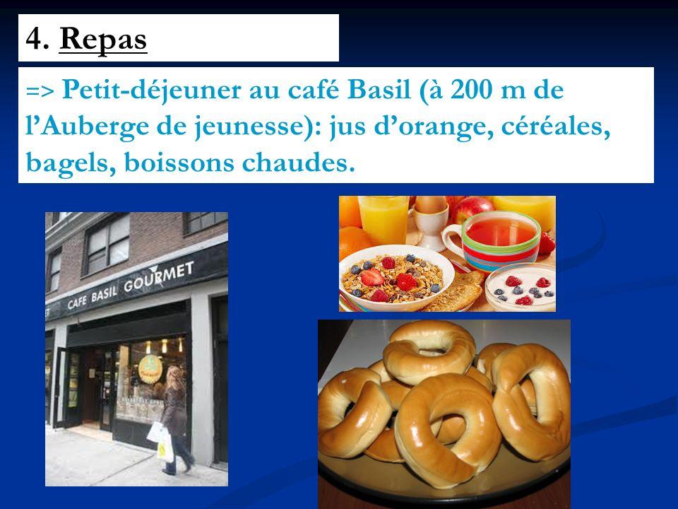 4. Repas => Petit-déjeuner au café Basil (à 200 m de lAuberge de jeunesse): jus dorange, céréales, bagels, boissons chaudes.