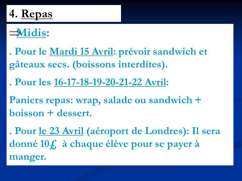 4. Repas Midis:. Pour le Mardi 15 Avril: prévoir sandwich et gâteaux secs.