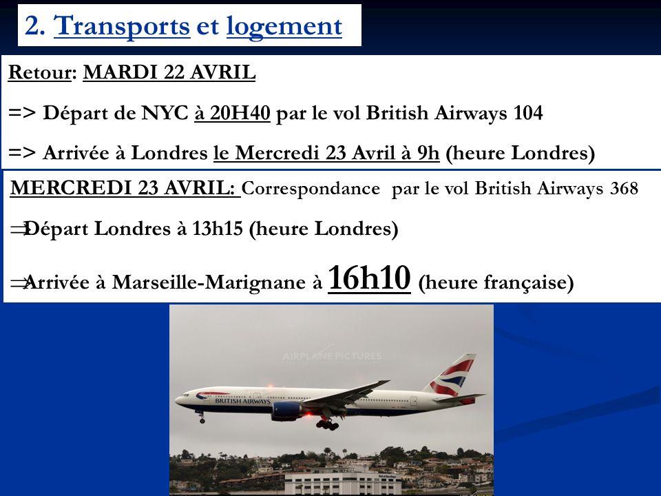 2. Transports et logement Retour: MARDI 22 AVRIL => Départ de NYC à 20H40 par le vol British Airways 104 => Arrivée à Londres le Mercredi 23 Avril à 9