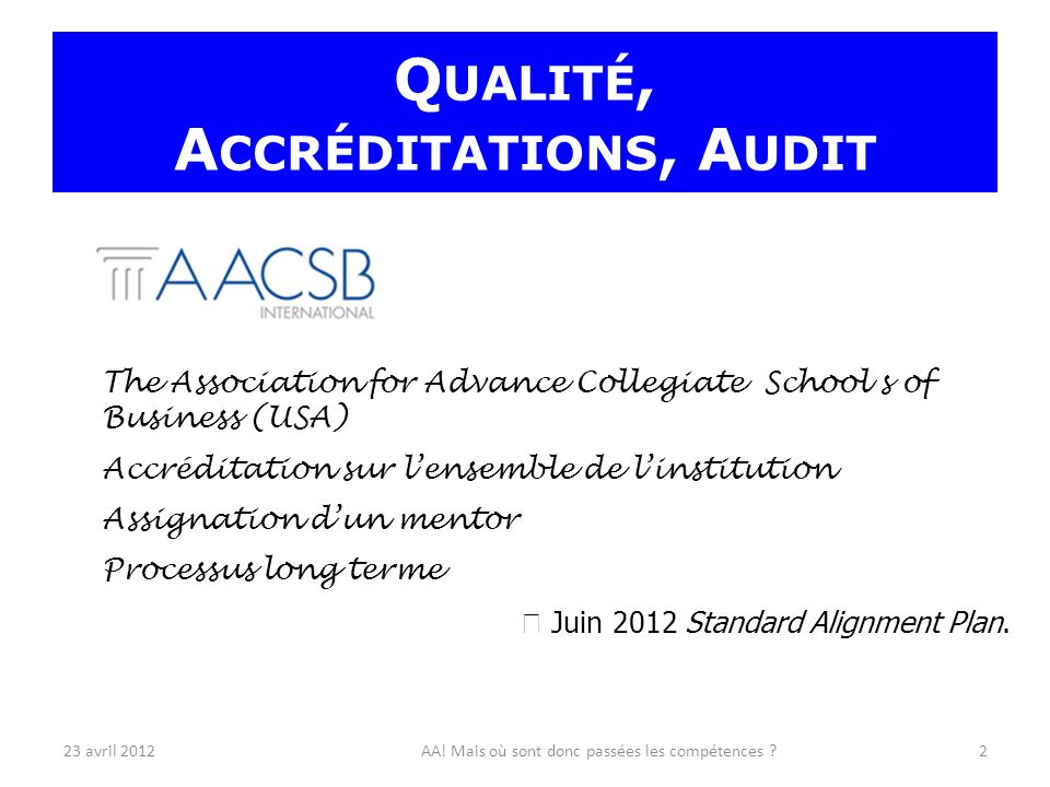 The Association for Advance Collegiate School s of Business (USA) Accréditation sur lensemble de linstitution Assignation dun mentor Processus long terme Juin 2012 Standard Alignment Plan.