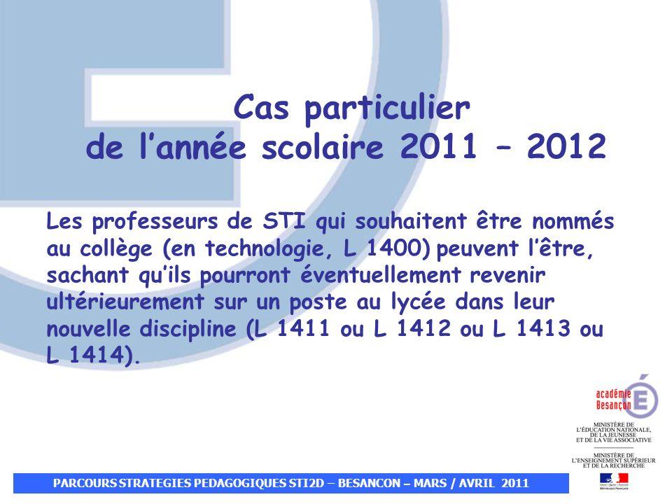 Cas particulier de lannée scolaire 2011 – 2012 Les professeurs de STI qui souhaitent être nommés au collège (en technologie, L 1400) peuvent lêtre, sa