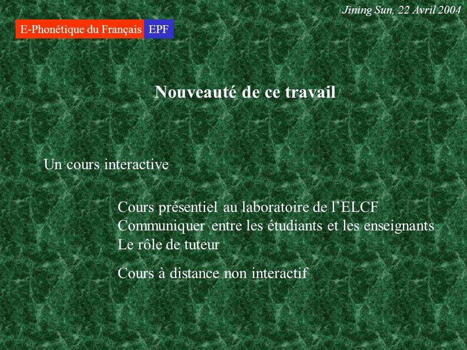 E-Phonétique du FrançaisEPF Théorie Jining Sun, 22 Avril 2004 Formation à distance Théorie du phonétique
