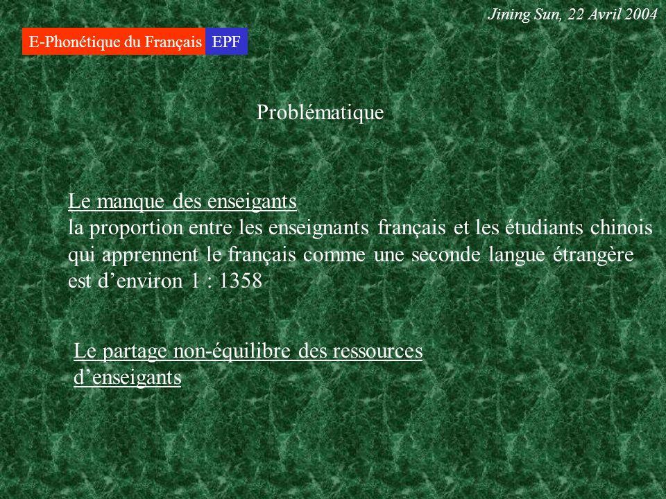 E-Phonétique du FrançaisEPF Problématique Le partage non-équilibre des ressources denseigants Jining Sun, 22 Avril 2004