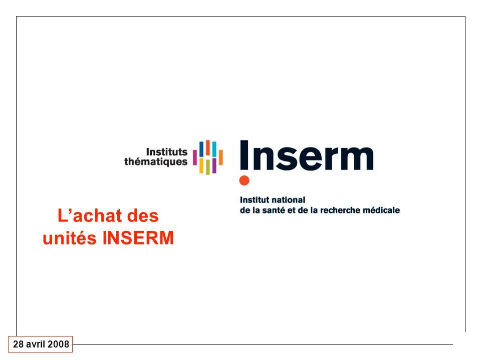 28 avril 2008 Lachat des unités INSERM