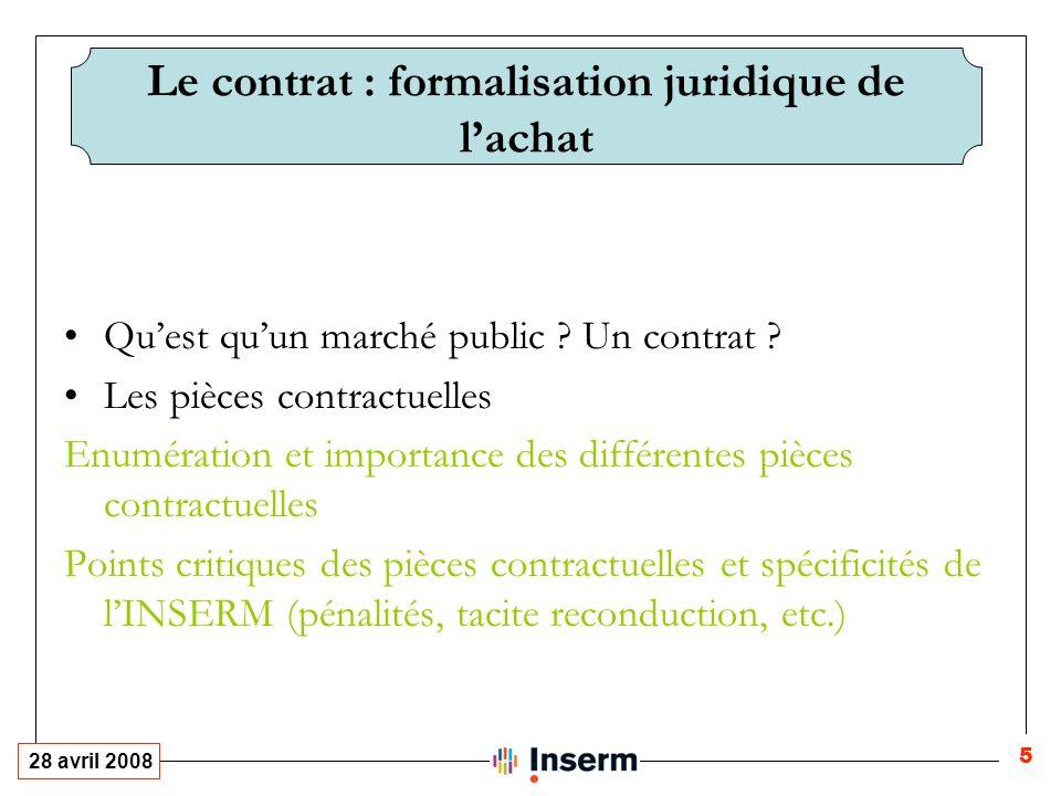 28 avril 2008 5 Le contrat : formalisation juridique de lachat Quest quun marché public .
