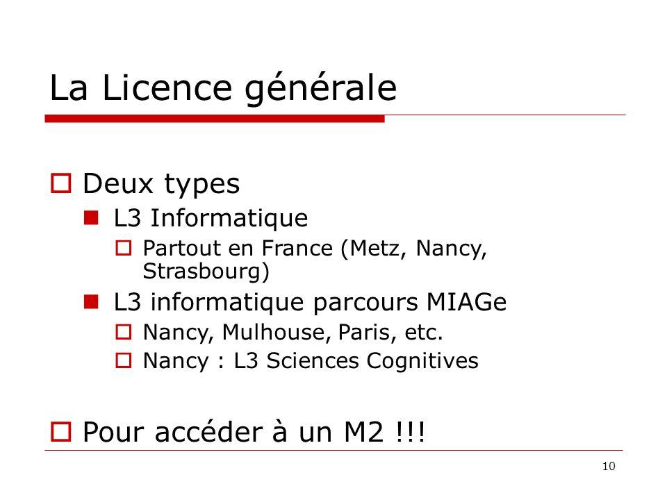 10 La Licence générale Deux types L3 Informatique Partout en France (Metz, Nancy, Strasbourg) L3 informatique parcours MIAGe Nancy, Mulhouse, Paris, etc.