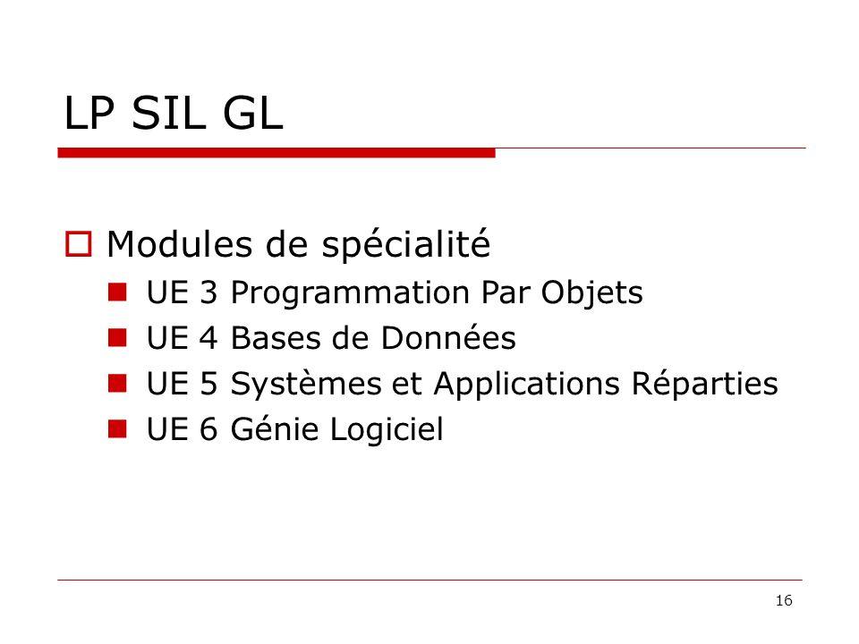 16 LP SIL GL Modules de spécialité UE 3 Programmation Par Objets UE 4 Bases de Données UE 5 Systèmes et Applications Réparties UE 6 Génie Logiciel