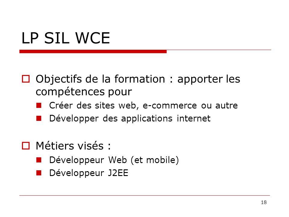 18 LP SIL WCE Objectifs de la formation : apporter les compétences pour Créer des sites web, e-commerce ou autre Développer des applications internet Métiers visés : Développeur Web (et mobile) Développeur J2EE e projets