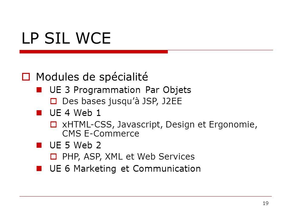 19 LP SIL WCE Modules de spécialité UE 3 Programmation Par Objets Des bases jusquà JSP, J2EE UE 4 Web 1 xHTML-CSS, Javascript, Design et Ergonomie, CMS E-Commerce UE 5 Web 2 PHP, ASP, XML et Web Services UE 6 Marketing et Communication