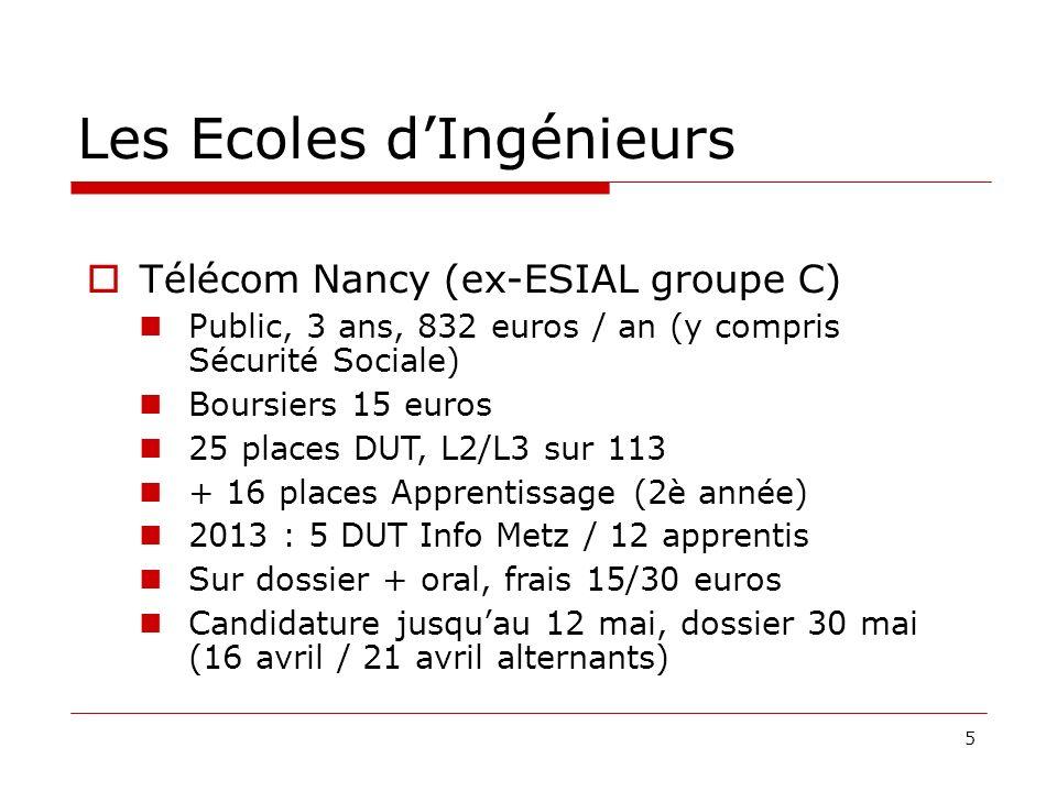 5 Les Ecoles dIngénieurs Télécom Nancy (ex-ESIAL groupe C) Public, 3 ans, 832 euros / an (y compris Sécurité Sociale) Boursiers 15 euros 25 places DUT, L2/L3 sur 113 + 16 places Apprentissage (2è année) 2013 : 5 DUT Info Metz / 12 apprentis Sur dossier + oral, frais 15/30 euros Candidature jusquau 12 mai, dossier 30 mai (16 avril / 21 avril alternants)
