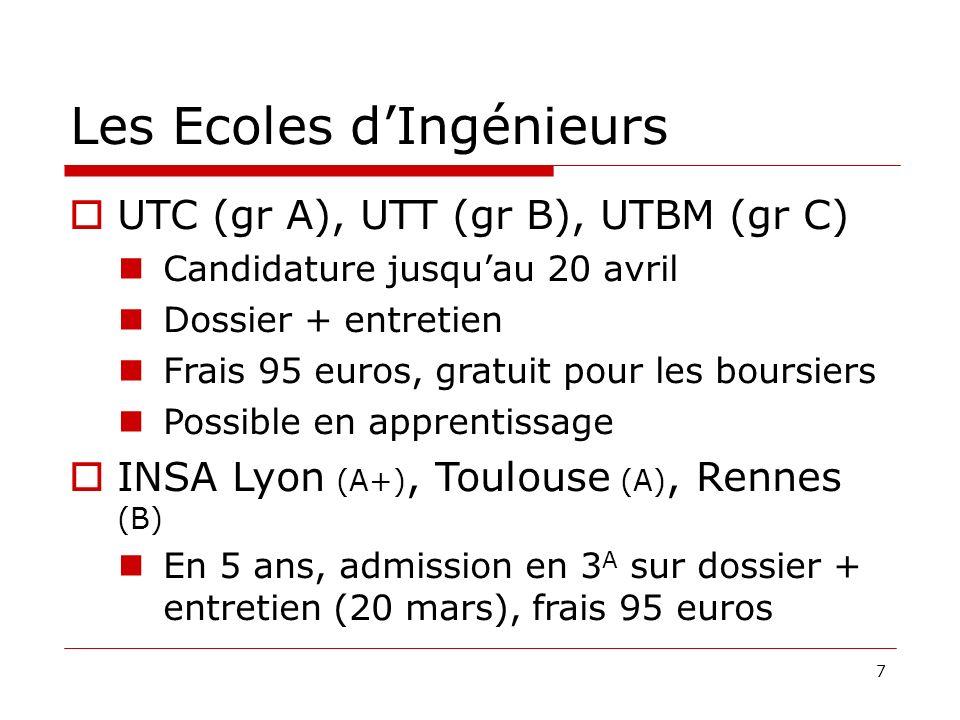 7 Les Ecoles dIngénieurs UTC (gr A), UTT (gr B), UTBM (gr C) Candidature jusquau 20 avril Dossier + entretien Frais 95 euros, gratuit pour les boursie