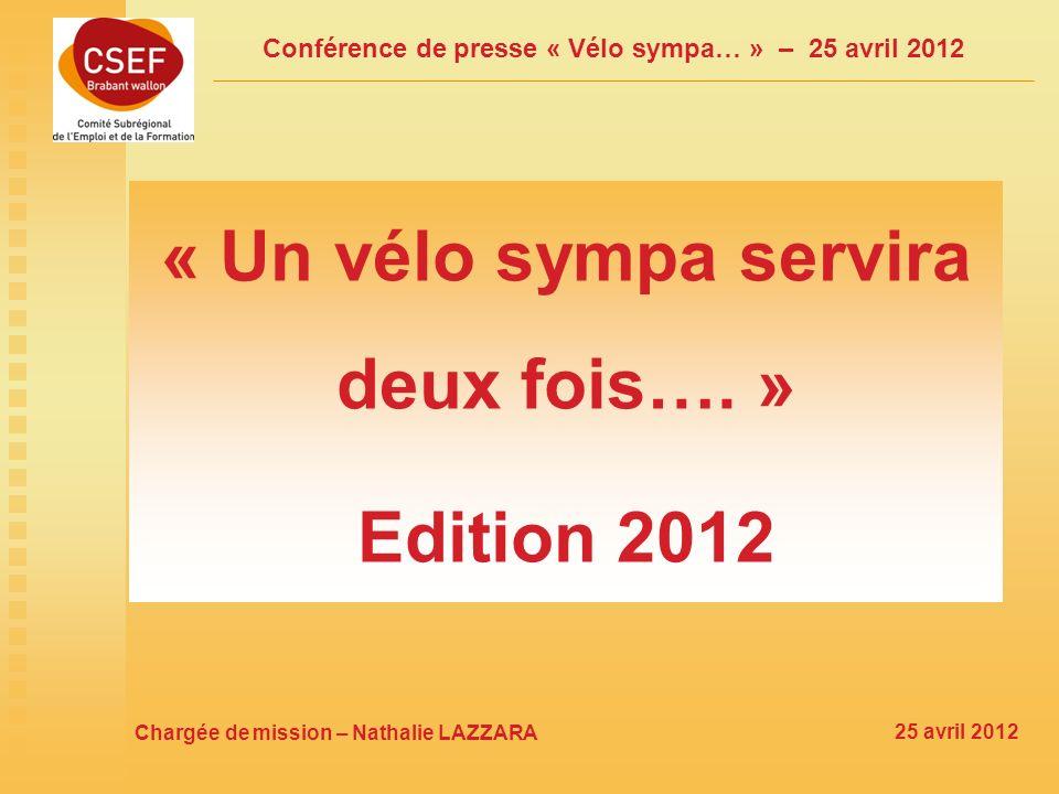 Conférence de presse « Vélo sympa… » – 25 avril 2012 « Un vélo sympa servira deux fois….