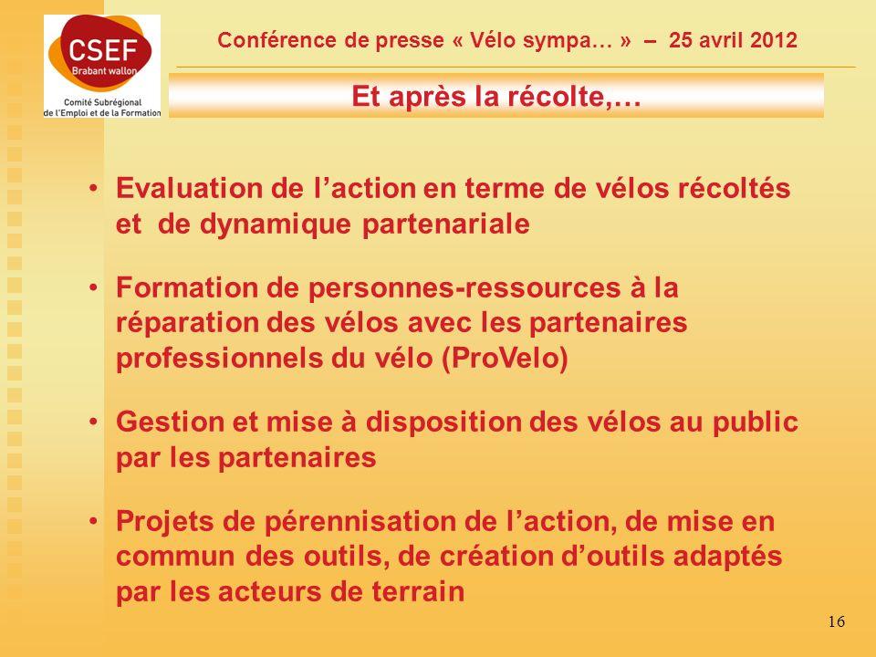 Conférence de presse « Vélo sympa… » – 25 avril 2012 16 Et après la récolte,… Evaluation de laction en terme de vélos récoltés et de dynamique partenariale Formation de personnes-ressources à la réparation des vélos avec les partenaires professionnels du vélo (ProVelo) Gestion et mise à disposition des vélos au public par les partenaires Projets de pérennisation de laction, de mise en commun des outils, de création doutils adaptés par les acteurs de terrain
