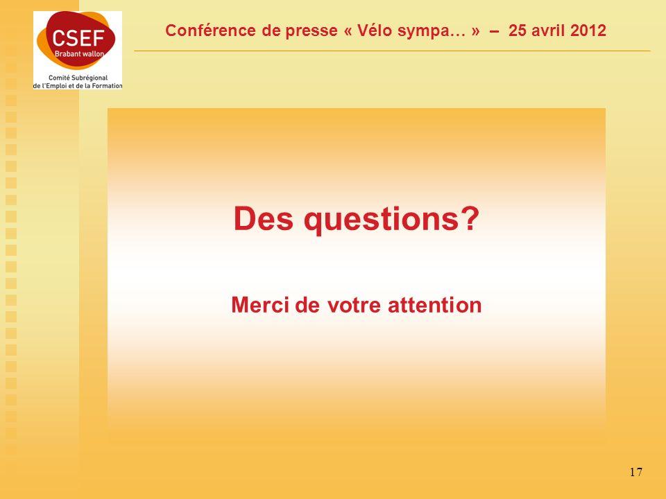 Conférence de presse « Vélo sympa… » – 25 avril 2012 17 Des questions Merci de votre attention
