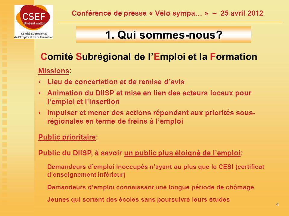 Conférence de presse « Vélo sympa… » – 25 avril 2012 4 1.