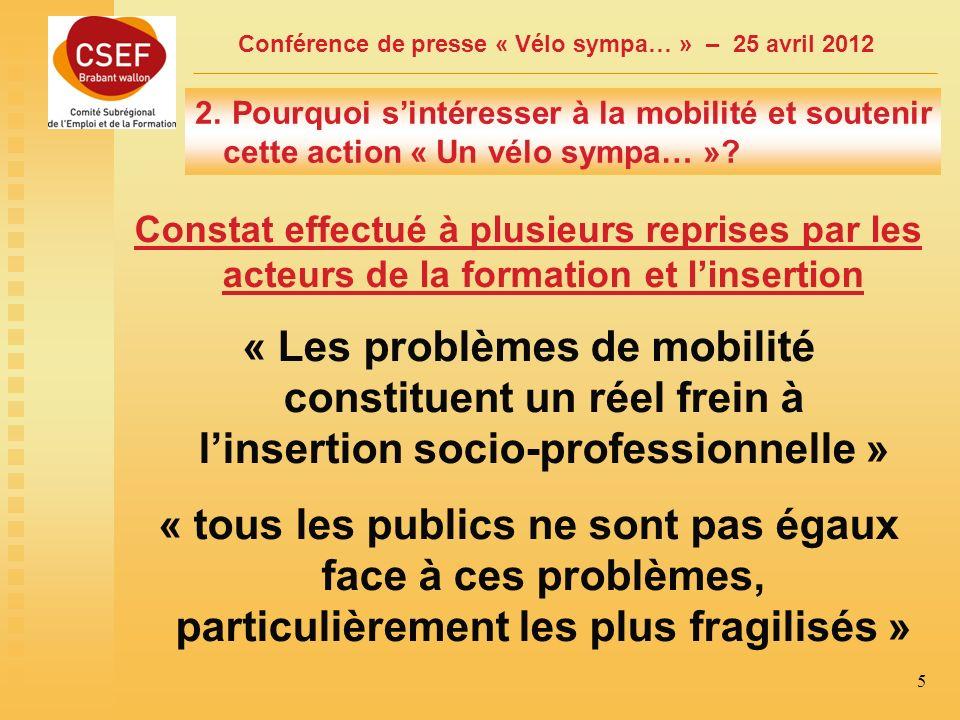 Conférence de presse « Vélo sympa… » – 25 avril 2012 6 Cest quoi la mobilité? Se déplacer, cest…