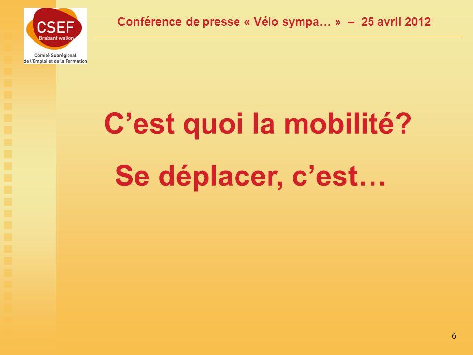 Conférence de presse « Vélo sympa… » – 25 avril 2012 6 Cest quoi la mobilité Se déplacer, cest…