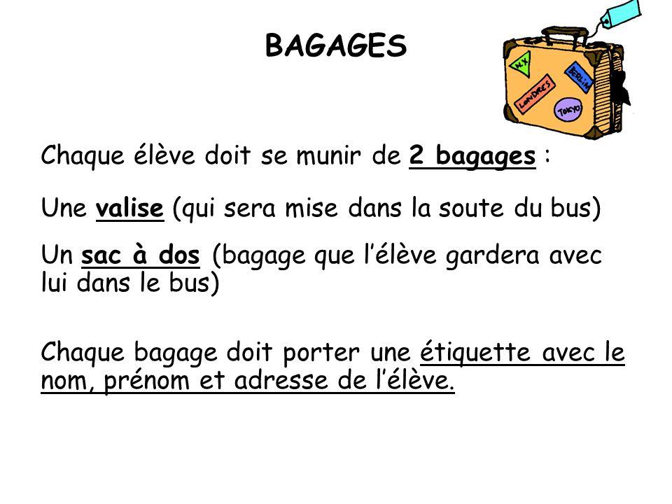 BAGAGES Chaque élève doit se munir de 2 bagages : Une valise (qui sera mise dans la soute du bus) Un sac à dos (bagage que lélève gardera avec lui dan