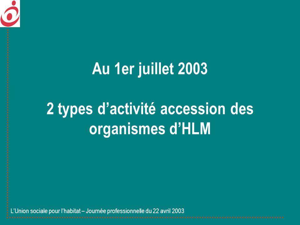Au 1er juillet 2003 2 types dactivité accession des organismes dHLM