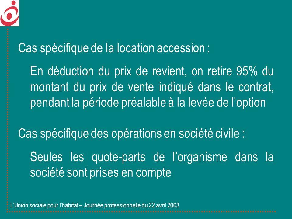 Cas spécifique de la location accession : En déduction du prix de revient, on retire 95% du montant du prix de vente indiqué dans le contrat, pendant