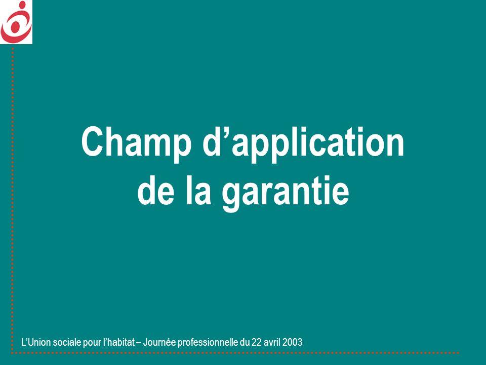 LUnion sociale pour lhabitat – Journée professionnelle du 22 avril 2003 Mécanismes de la garantie