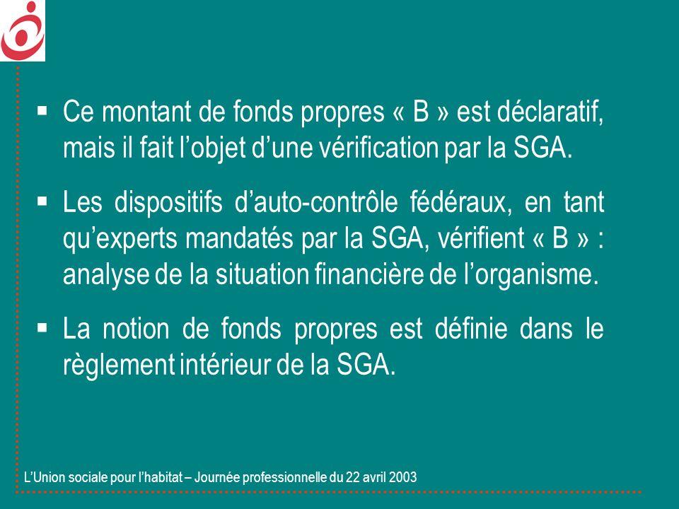 Ce montant de fonds propres « B » est déclaratif, mais il fait lobjet dune vérification par la SGA. Les dispositifs dauto-contrôle fédéraux, en tant q