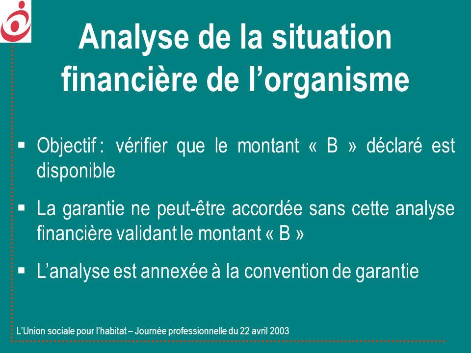 Objectif : vérifier que le montant « B » déclaré est disponible La garantie ne peut-être accordée sans cette analyse financière validant le montant «