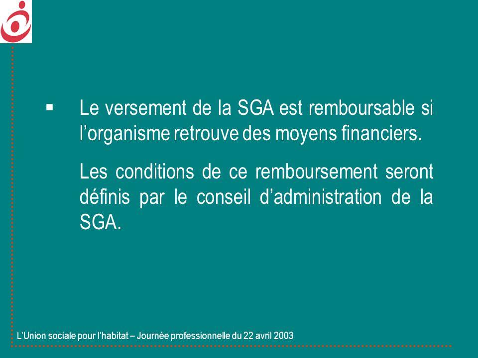 Le versement de la SGA est remboursable si lorganisme retrouve des moyens financiers. Les conditions de ce remboursement seront définis par le conseil