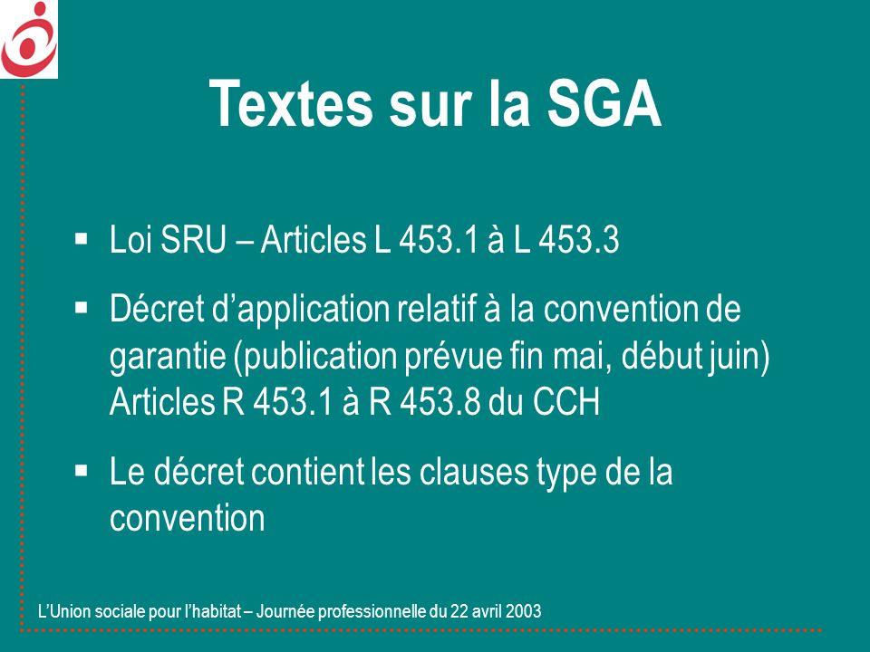Textes sur la SGA Loi SRU – Articles L 453.1 à L 453.3 Décret dapplication relatif à la convention de garantie (publication prévue fin mai, début juin