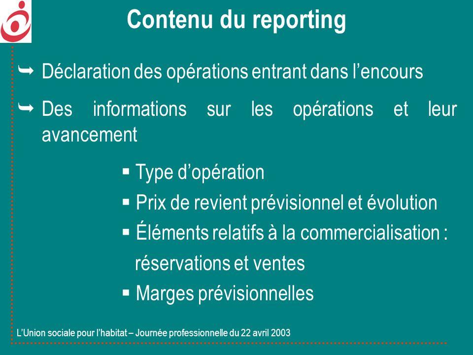 Déclaration des opérations entrant dans lencours Des informations sur les opérations et leur avancement Type dopération Prix de revient prévisionnel e