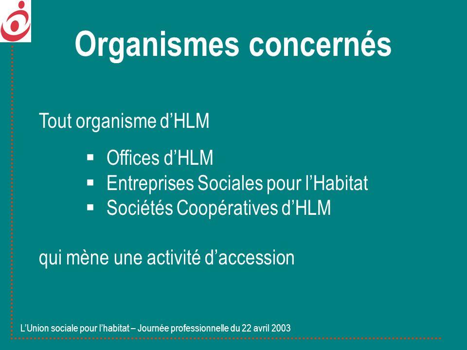 Organismes concernés Tout organisme dHLM Offices dHLM Entreprises Sociales pour lHabitat Sociétés Coopératives dHLM qui mène une activité daccession L