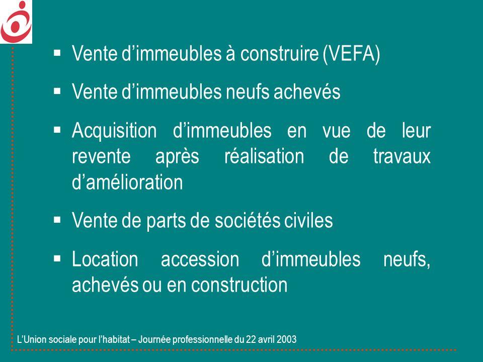 Vente dimmeubles à construire (VEFA) Vente dimmeubles neufs achevés Acquisition dimmeubles en vue de leur revente après réalisation de travaux damélio