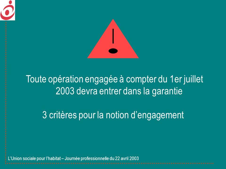 Toute opération engagée à compter du 1er juillet 2003 devra entrer dans la garantie 3 critères pour la notion dengagement LUnion sociale pour lhabitat