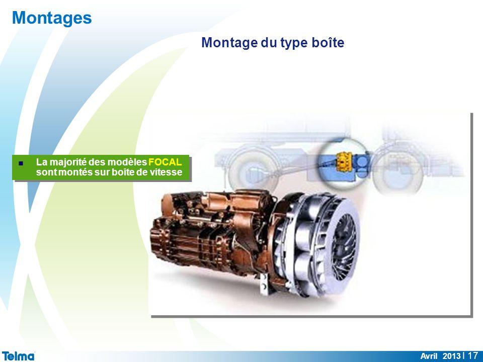 Montages Avril 2013 I 17 La majorité des modèles FOCAL sont montés sur boîte de vitesse Montage du type boîte
