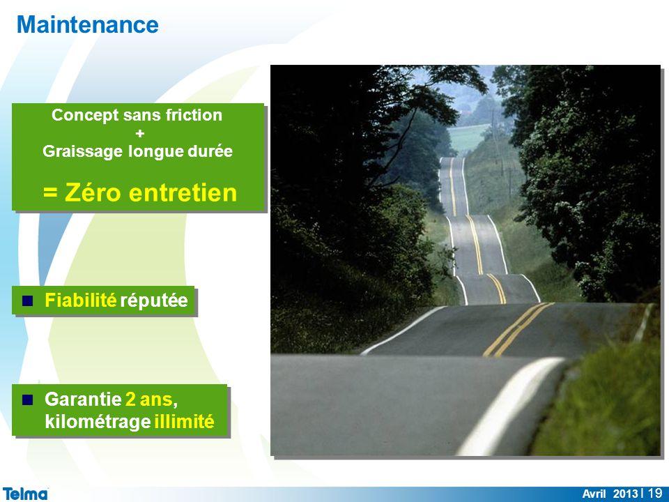 Maintenance Avril 2013 I 19 Concept sans friction + Graissage longue durée = Zéro entretien Concept sans friction + Graissage longue durée = Zéro entr