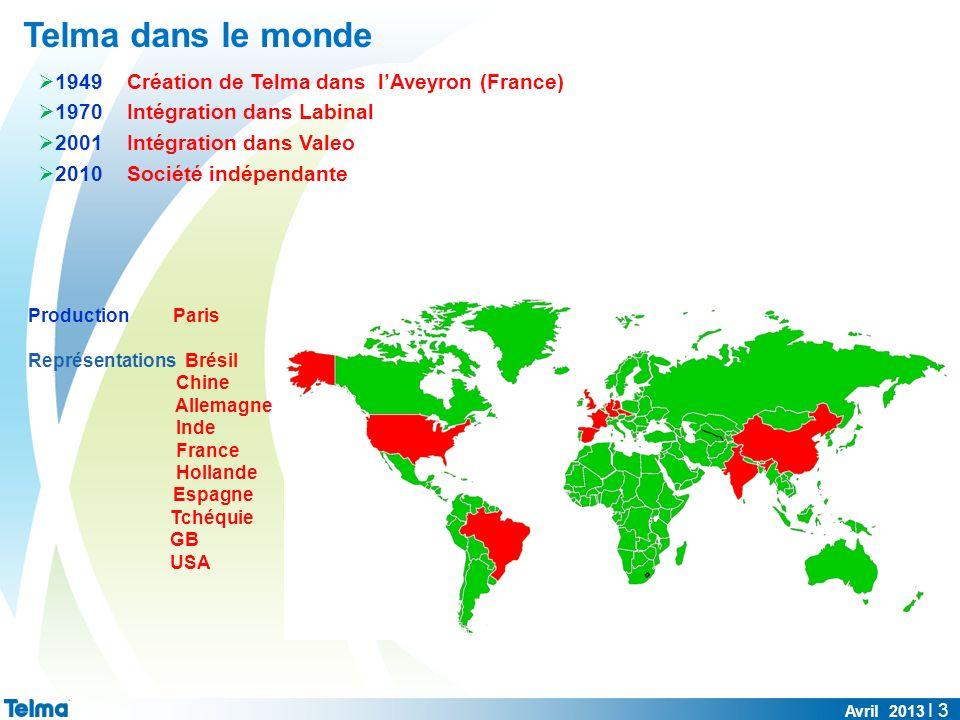 Telma dans le monde 1949 Création de Telma dans lAveyron (France) 1970 Intégration dans Labinal 2001 Intégration dans Valeo 2010 Société indépendante