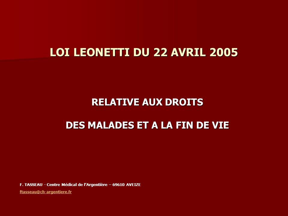 LOI LEONETTI DU 22 AVRIL 2005 RELATIVE AUX DROITS DES MALADES ET A LA FIN DE VIE F. TASSEAU - Centre Médical de lArgentière – 69610 AVEIZE ftasseau@ch