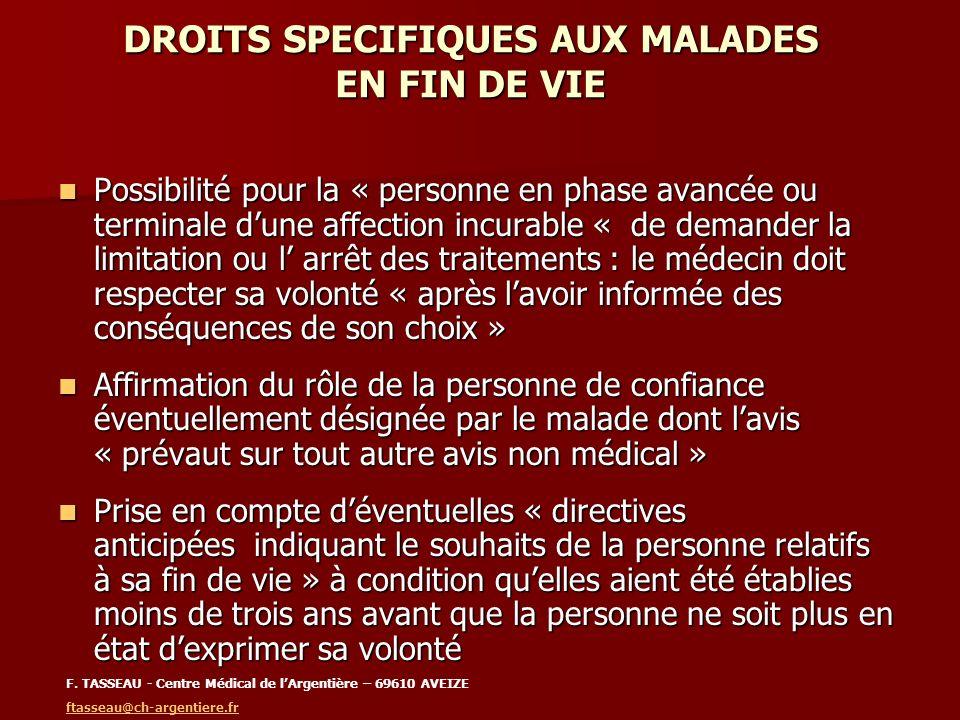 DROITS SPECIFIQUES AUX MALADES EN FIN DE VIE Possibilité pour la « personne en phase avancée ou terminale dune affection incurable « de demander la li