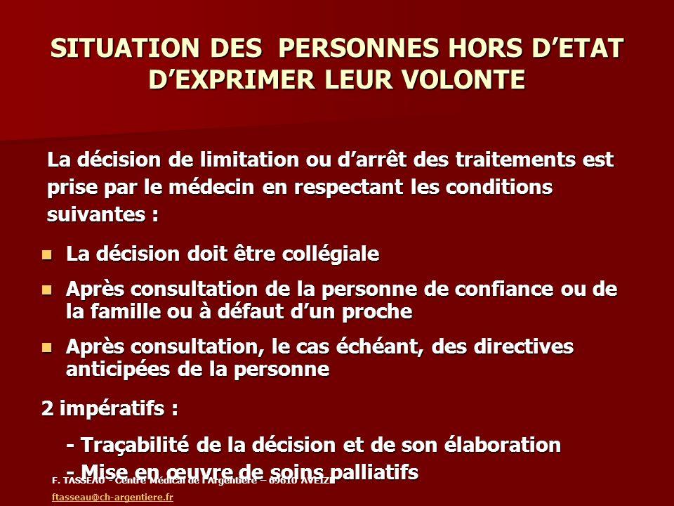 SITUATION DES PERSONNES HORS DETAT DEXPRIMER LEUR VOLONTE La décision de limitation ou darrêt des traitements est La décision de limitation ou darrêt