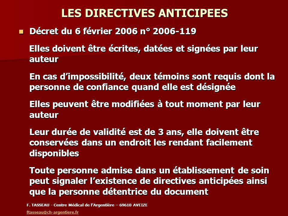 LES DIRECTIVES ANTICIPEES Décret du 6 février 2006 n° 2006-119 Décret du 6 février 2006 n° 2006-119 Elles doivent être écrites, datées et signées par