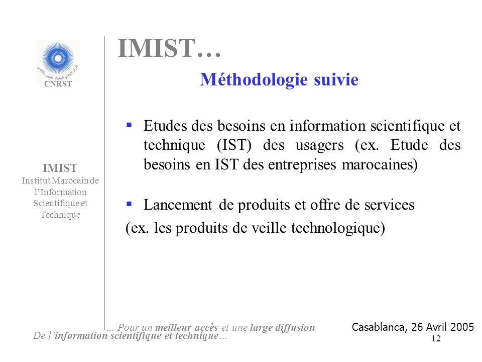 12 Etudes des besoins en information scientifique et technique (IST) des usagers (ex. Etude des besoins en IST des entreprises marocaines) Lancement d