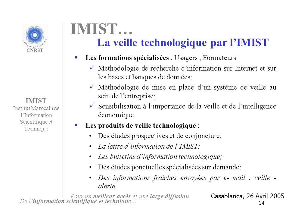 14 Les formations spécialisées : Usagers, Formateurs Méthodologie de recherche dinformation sur Internet et sur les bases et banques de données; Métho
