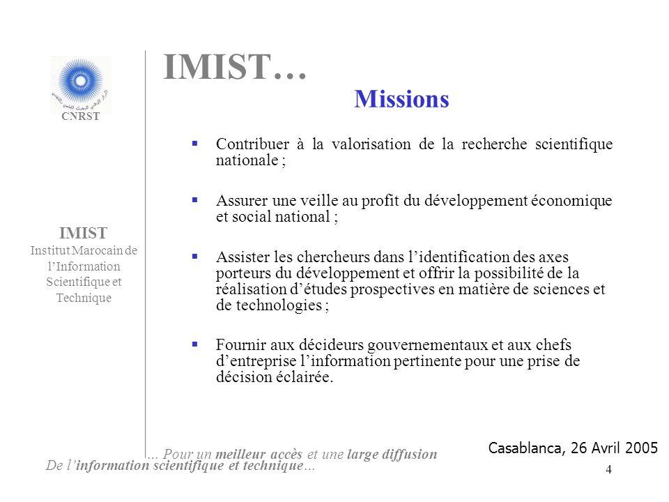 15 Les Produits de veille technologique 1 - La Lettre de lIMIST Objectif La lettre est créée dans le but de signaler les opportunités scientifiques et technologiques, nationales et internationales, de sensibiliser les acteurs du développement à la veille et lintelligence économique et dinformer sur lactualité de lIMIST.