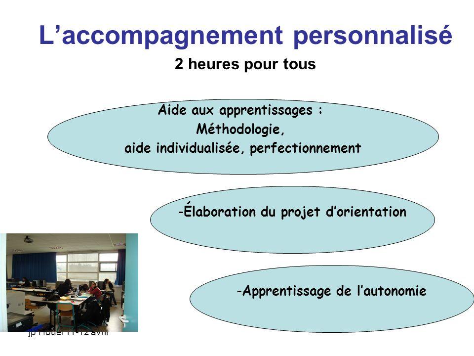 jp Houël 11-12 avril Laccompagnement personnalisé 2 heures pour tous Aide aux apprentissages : Méthodologie, aide individualisée, perfectionnement -Ap